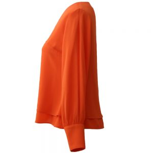 Crepe silk blouse short orange color - types women's and girl's blouse model
